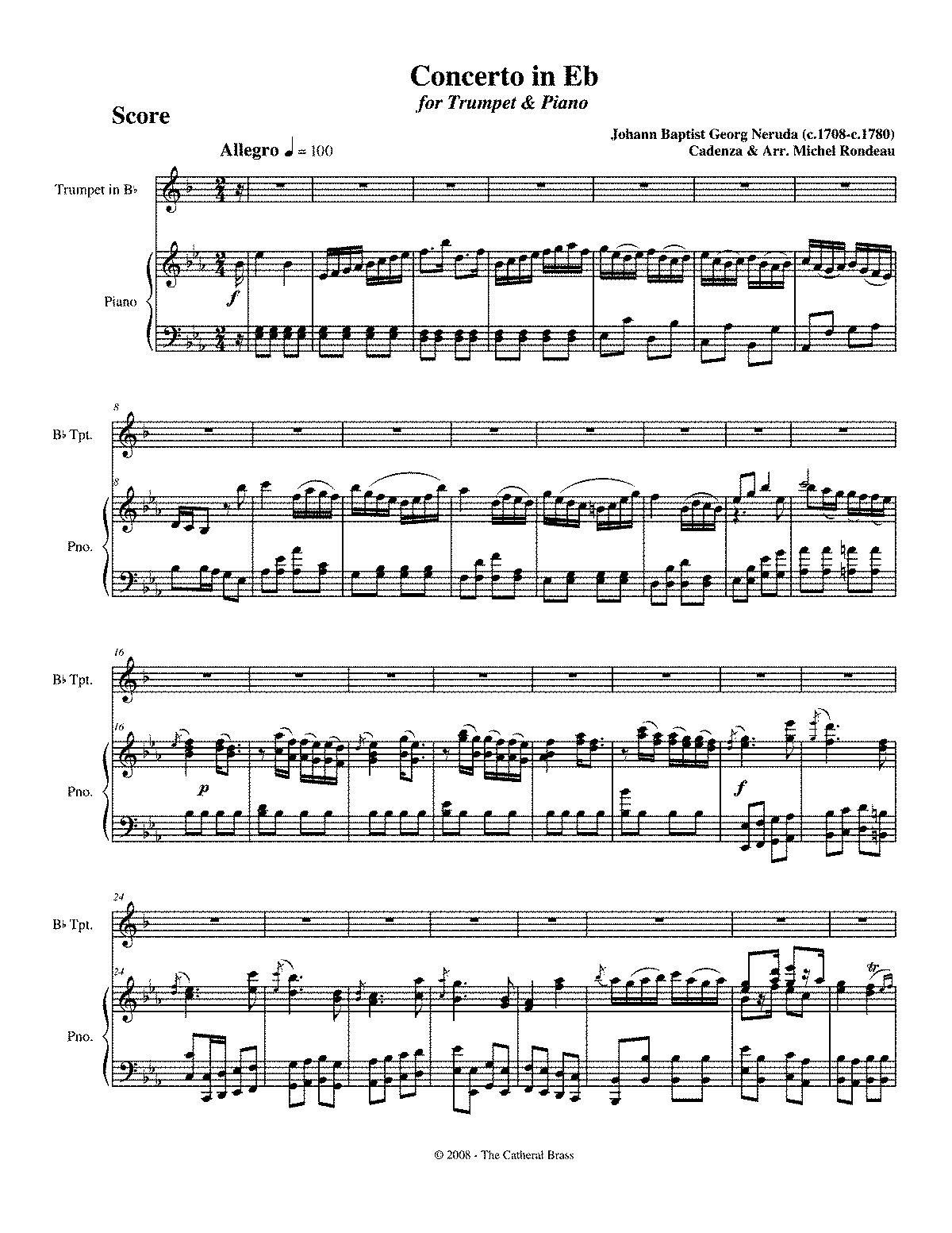 Johann Baptist Georg Neruda and his Concerto in DM for
